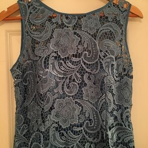 🍒Adrianna Papell Blue Lace Dress 6